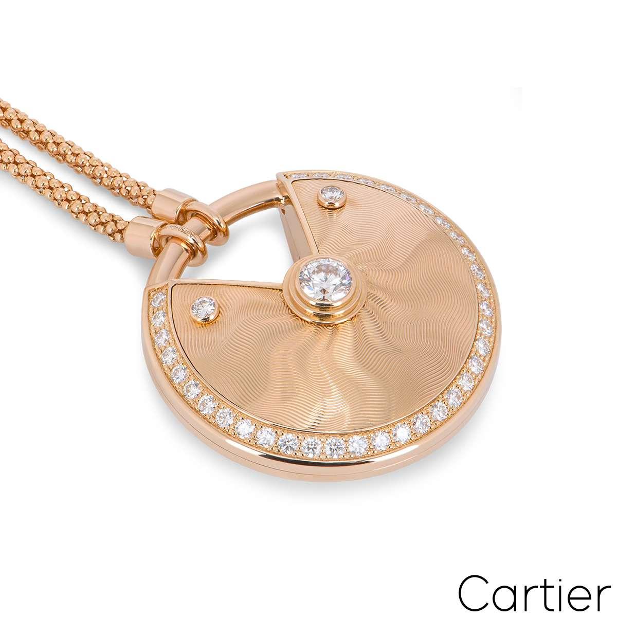 Cartier Rose Gold Guilloche Amulette De Cartier Necklace